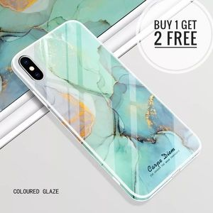 Chic Colored Glaze Tempered Glass Phone Case
